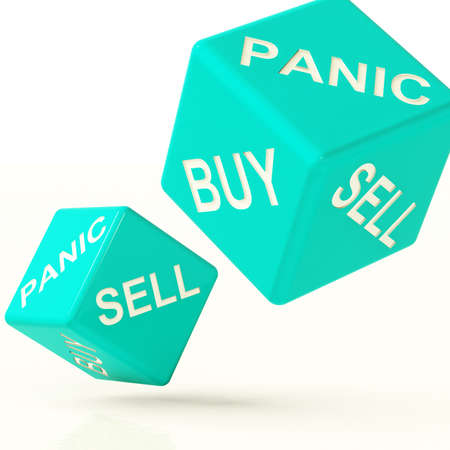 Buy Panic And Sell Blue Dice Representing Market Turmoil photo