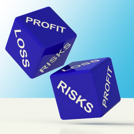 profit and loss: Profit Loss And Risks Blue Dice Showing Market Risk