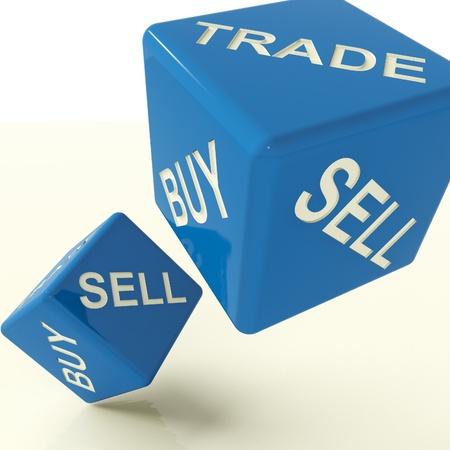 commerce: Acheter commerce et vendre Dice bleu repr�sentant affaires et le commerce