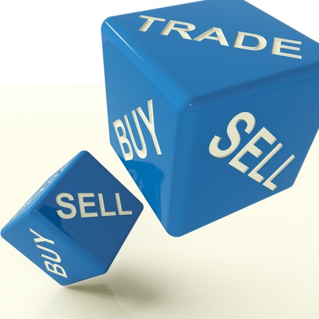 retailing: Buy Trade And Sell Blue Dice Representing Business And Commerce Stock Photo
