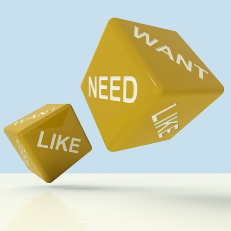 require: Need Want Like Yellow Dice Showing Materialism And Desire Stock Photo