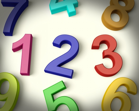 numerics: Kids Multicolored Numbers Representing Numeracy And Education
