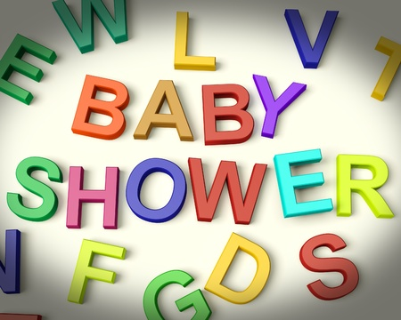 baby shower party: Baby Shower Written In Multicolored Kids Letters Stock Photo