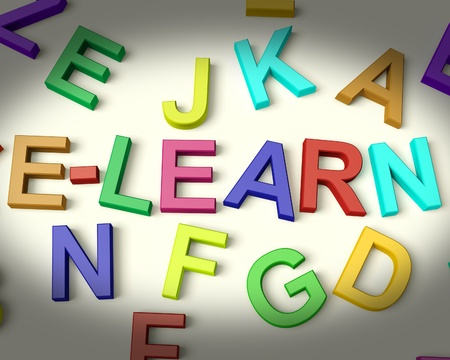 Elearn Written In Multicolored Plastic Kids Letters Stock Photo - 11725487