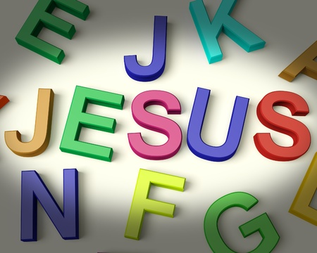messiah: Jesus Written In Multicolored Plastic Kids Letters