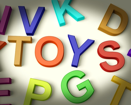 Toys Written In Multicolored Plastic Kids Letters Stock Photo - 11725520