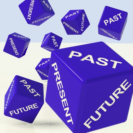 Past Present Future Blue Dice Showing Evolution And Destiny photo