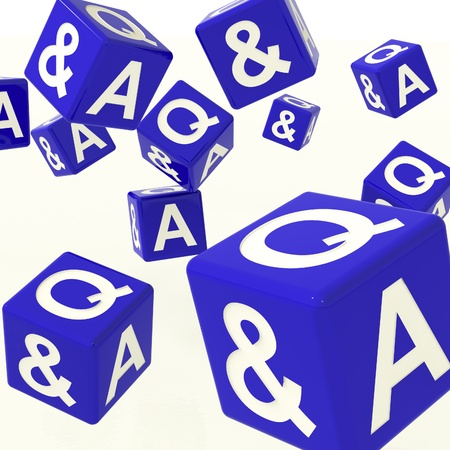 Question and Answer Blue Dice As Symbol For Information Stock Photo - 11725562