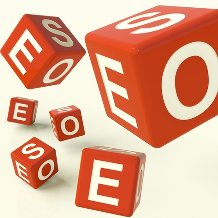 optimized: Seo Red Dice Representing Internet Optimization And Development Stock Photo