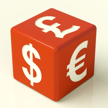 Dollar Pound And Euro Signs On Red Dice Stock Photo - 11725368