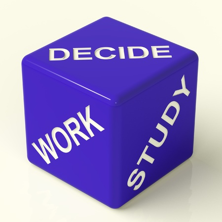 Decide Work Study Blue Dice Showing Career Choices Stock Photo - 11725386