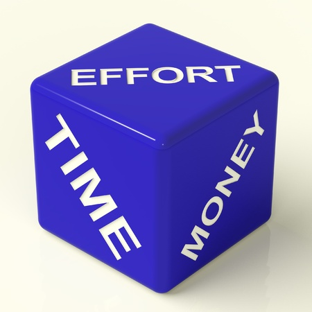 zeitarbeit: Effort Time Money Blue Dice Stellvertretend f�r die Zutaten f�r Business-