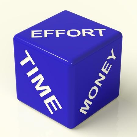 gestion del tiempo: Esfuerzo Dados el tiempo es dinero azul que representa el Ingredientes para negocios