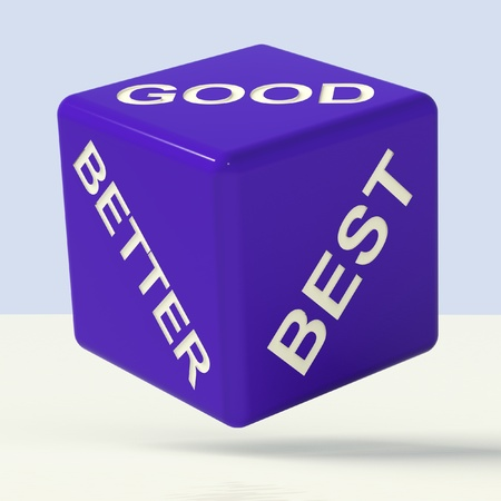 good better best: Good Better Best Blue Dice Representing Ratings And Improvement