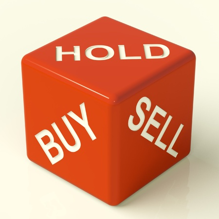 representing: Buy Hold And Sell Red Dice Representing Stocks Strategy