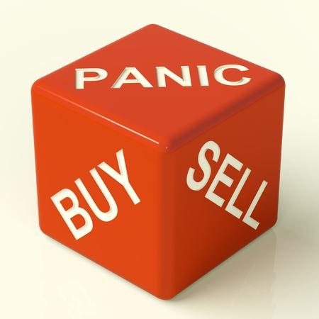 stock traders: Comprare panico e vendere Red dadi che rappresentano lo stress di mercato