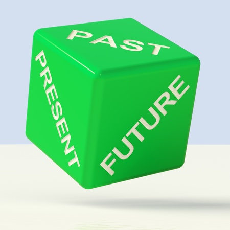 Past Present Future Green Dice Showing Evolution And Aging photo