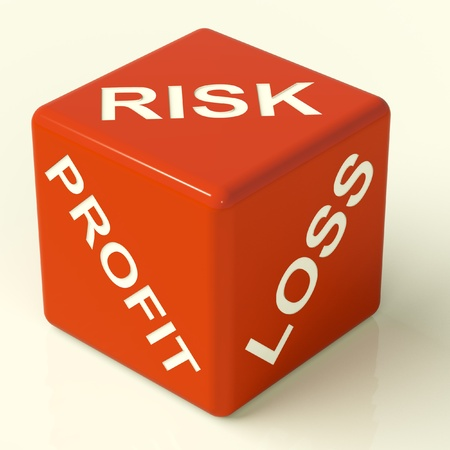 return on investment: Profit Loss And Risks Red Dice Showing Market Uncertainty