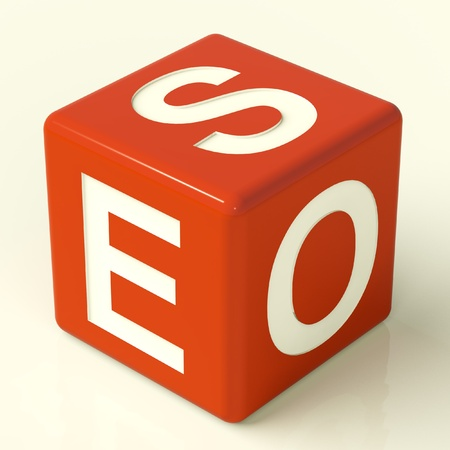 optimized: Seo Red Dice Representing Internet Optimization And Promotion