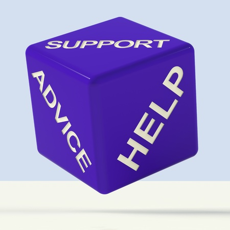 Support Advice Help Blue Dice Representing Questions And Answers Stock Photo - 11725558