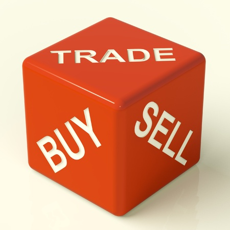 importer: Buy Trade And Sell Red Dice Representing Business And Organization Stock Photo
