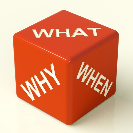 What Why When Red Dice Representing Questions And Choices Stock Photo - 11725388