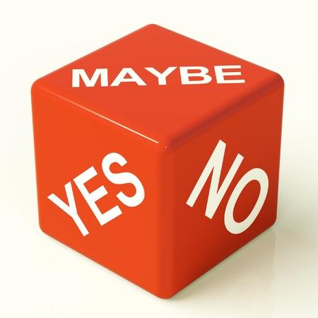 möglicherweise: Vielleicht Ja Nein Red Dice Stellvertretend f�r Unsicherheit und Entscheidungen