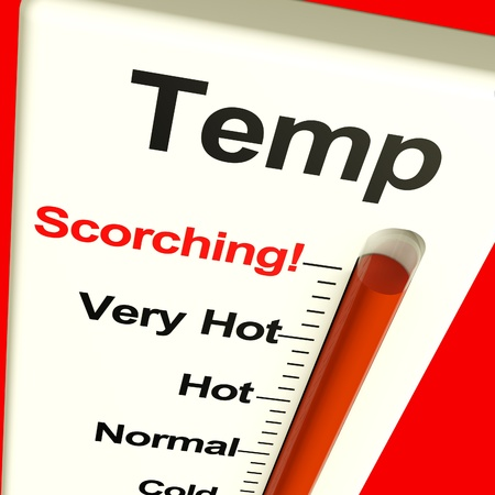 overheating: Very High Scorching Temperature Shown On A Big Thermostat