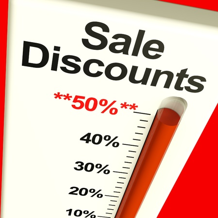 selloff: Fifty Percent Sale Discounts Showing Bargain Closeout And Selloff