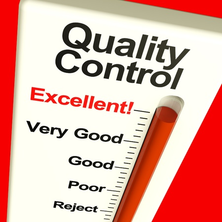 quality control: Quality Control Excellent Monitor Showing High Satisfaction And Perfection Stock Photo
