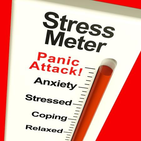ansiedad: Medidor de estr�s Mostrando ataque de p�nico del estr�s y la preocupaci�n Foto de archivo