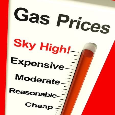 Gas Prices Sky High Monitor Showing Soaring Fuel Expense photo