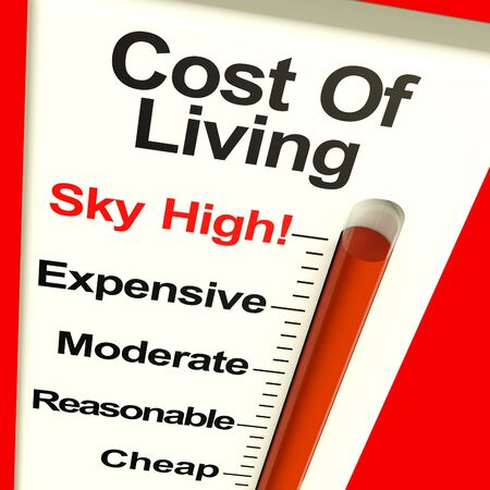 Cost Of Living Expenses Sky High Monitor Showing Increasing Cost photo