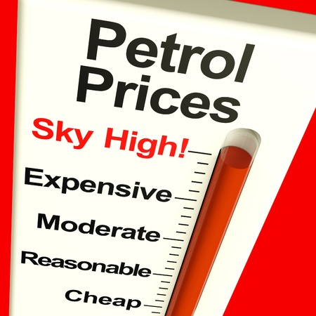 high price of oil: Petrol Prices Sky High Monitor Showing Soaring Fuel Expense