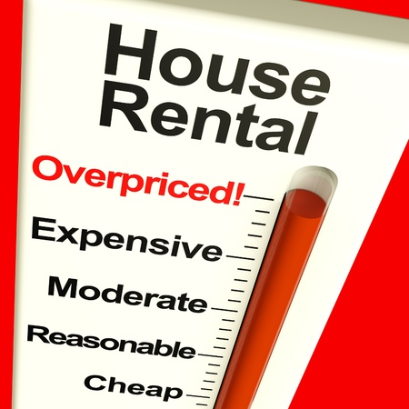 increases: House Rental Overpriced Monitor Showing Expensive Housing Cost Stock Photo