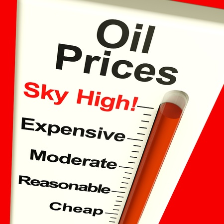 rising prices: Oil Prices High Monitor Showing Expensive Fuel Cost Stock Photo