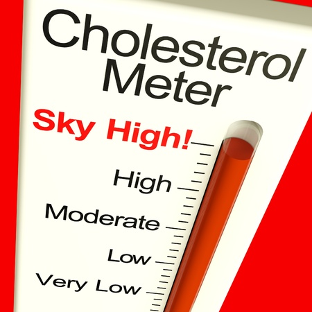 lowering: Cholesterol Meter High Showing Unhealthy Fatty Diets