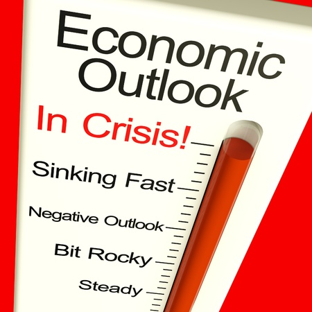 Economic Outlook In Crisis Monitor Showing Bankruptcy And A Depression Stock Photo - 11948078