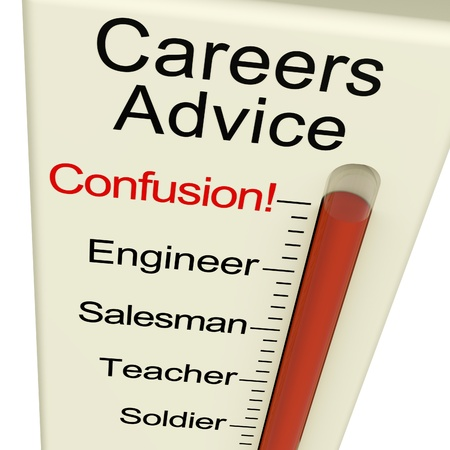Careers Advice Meter Confusion Shows Employment Guidance And Decisions photo