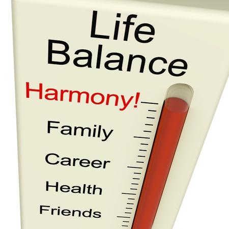 balanza: Conciliaci�n de la Vida del medidor Harmony Muestra Estilo de vida y el empleo Deseo Foto de archivo