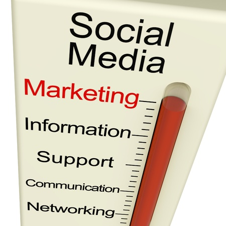 social media marketing: Social Media Marketing Monitor Shows Information Support And Communication Stock Photo