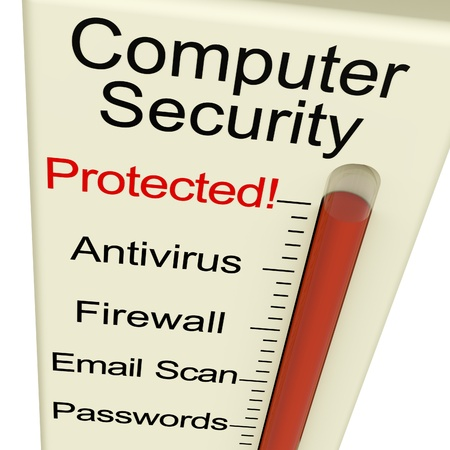 Computer Security Protected Monitor Shows Laptop Interet Safety Stock Photo - 11948126