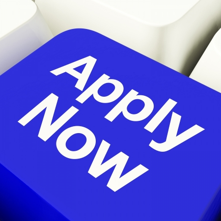 Apply Now Computer Key In Blue For Work Applications photo