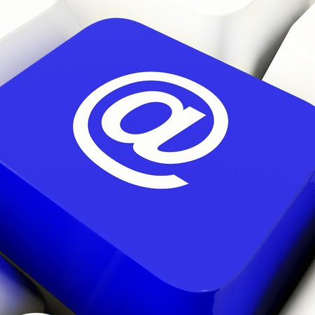 At Computer Key In Blue For Emails Or Contacting Stock Photo - 11947950