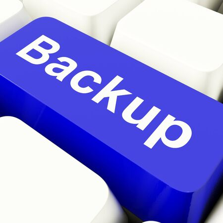 Backup Computer Key In Blue For Archiving And Data Storage Stock Photo - 11947643