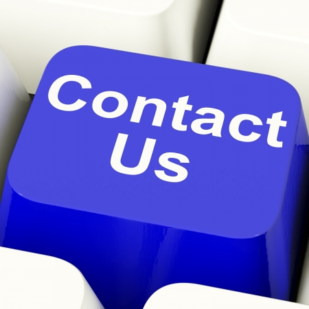 contact info: Contact Us Computer Key In Blue For Help Or Assistance Stock Photo