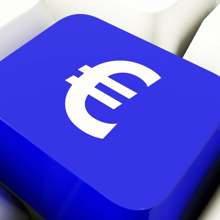 Euro Symbol Computer Key In Blue Showing Money And Investments Stock Photo - 11947618