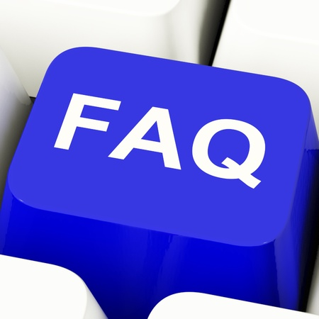 frequently asked questions: FAQ Computer Key In Blue Showing Information And Answer