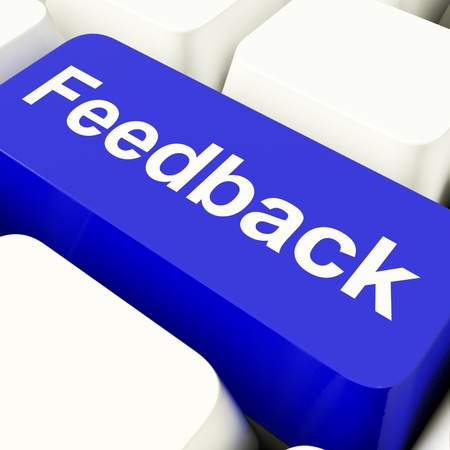 Feedback Computer Key In Blue Showing Opinion And Surveys Stock Photo - 11947660