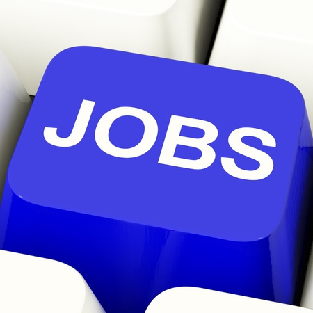 Jobs Computer Key In Blue Showing Work And Career Stock Photo - 11947738